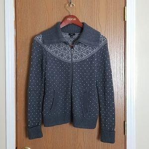 Talbots Petites Gray Fair Isle Zip Sweater SP
